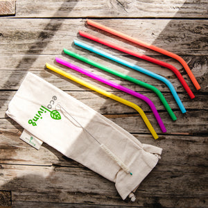 6 Multi-Coloured Silicone Straws - Life Before Plastik
