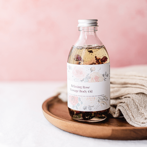 Funky Soap Shop Relaxing Rose Massage Body Oil infused with Rose Petals - Life Before Plastik