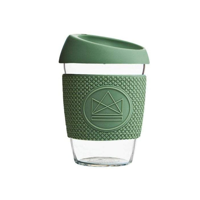 Neon Kactus Reusable Glass Coffee Cup - Olive Green - Life Before Plastik