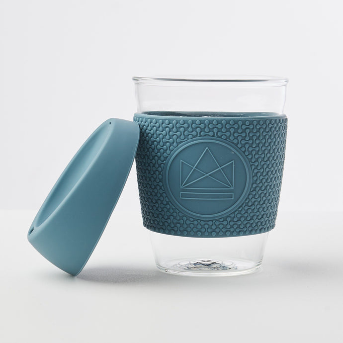Reusable Glass Coffee Cup - Storm Grey - Life Before Plastik