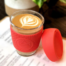 Load image into Gallery viewer, Reusable Glass Coffee Cup - Orange - Life Before Plastik