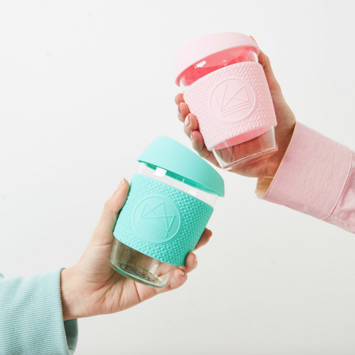 Reusable Glass Coffee Cup - Pink - Life Before Plastik