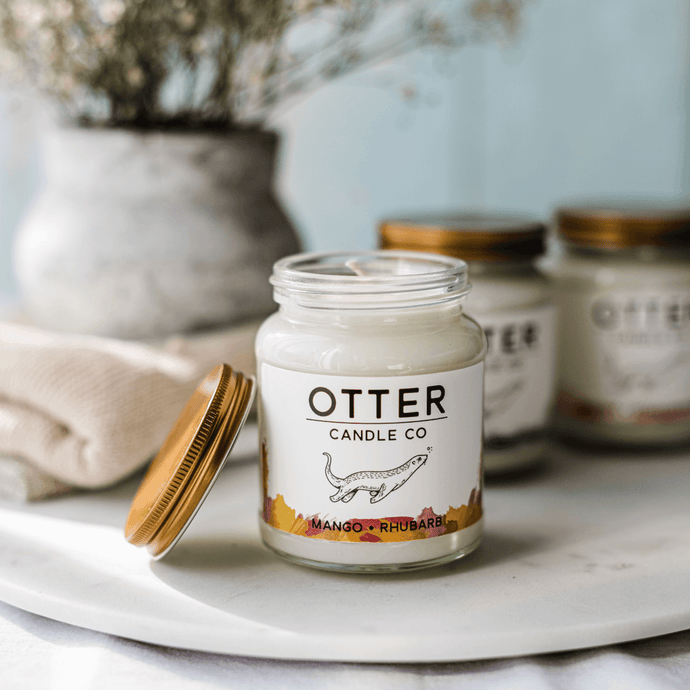 Mango & Rhubarb Soy Wax Candle - 30h | Otter Candle Co | Life Before Plastik