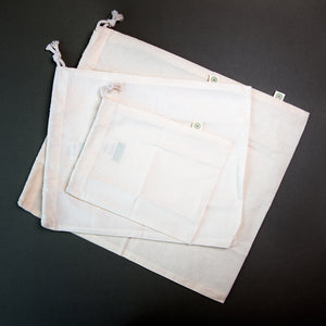 x3 Cotton Produce Bags - Mixed Sizes - Life Before Plastik