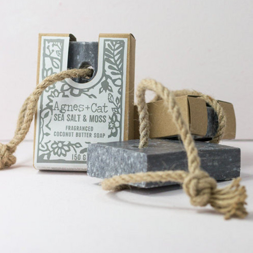 Agnes + Cat Soap On A Rope - Sea Salt & Moss 150g