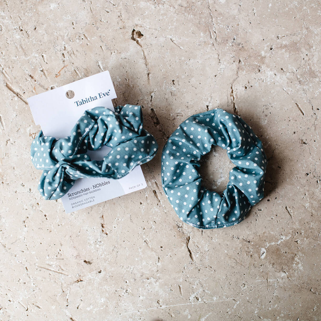 Tabitha Eve - Blue Dotted Scrunchie - Set of 3 - Life Before Plastik