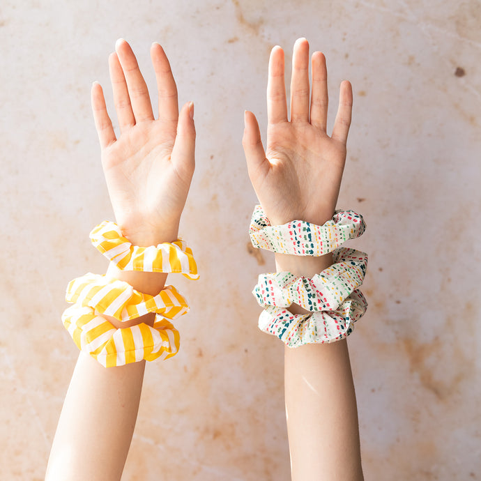 Yellow Stripe Scrunchie - Set of 3 - Life Before Plastik