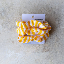 Load image into Gallery viewer, Yellow Stripe Scrunchie - Set of 3 - Life Before Plastik