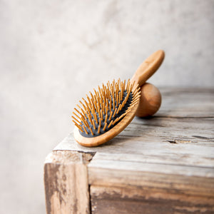 Bamboo Hairbrush on Black - Oval - Life Before Plastik