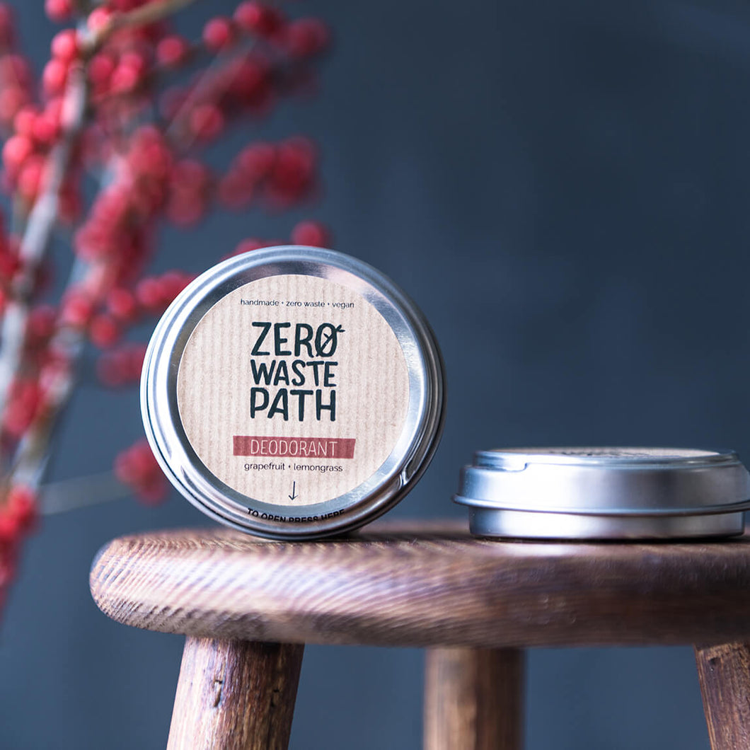 Zero Waste Path Grapefruit & Lemongrass Plastic Free Deodorant - Life Before Plastik
