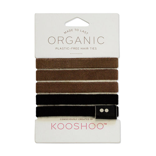 Kooshoo Plastic Free Hair Ties - Brown/Black