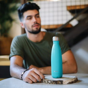 Stainless Steel Water Bottle (500ml) - Pop Teal - Life Before Plastik