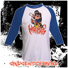 "Load image into Gallery viewer, WARHORSE ""GUTTER TRASH"" 3/4 Sleeve Raglan Tee (PRE-SALE)"