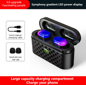 【 Free Shipping】Bluetooth V5.0 TWS Touch Headset With 3500mAh Charge Box Earphones