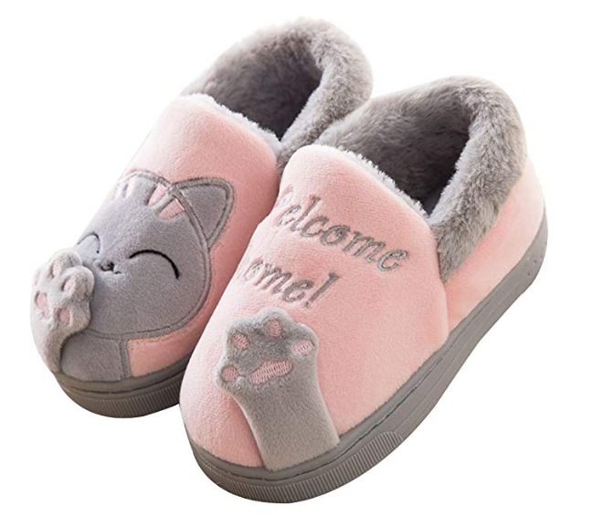 Cute Comfy Kids Toddler Cat Slippers Winter Warm Fuzzy House Shoes Non Slip