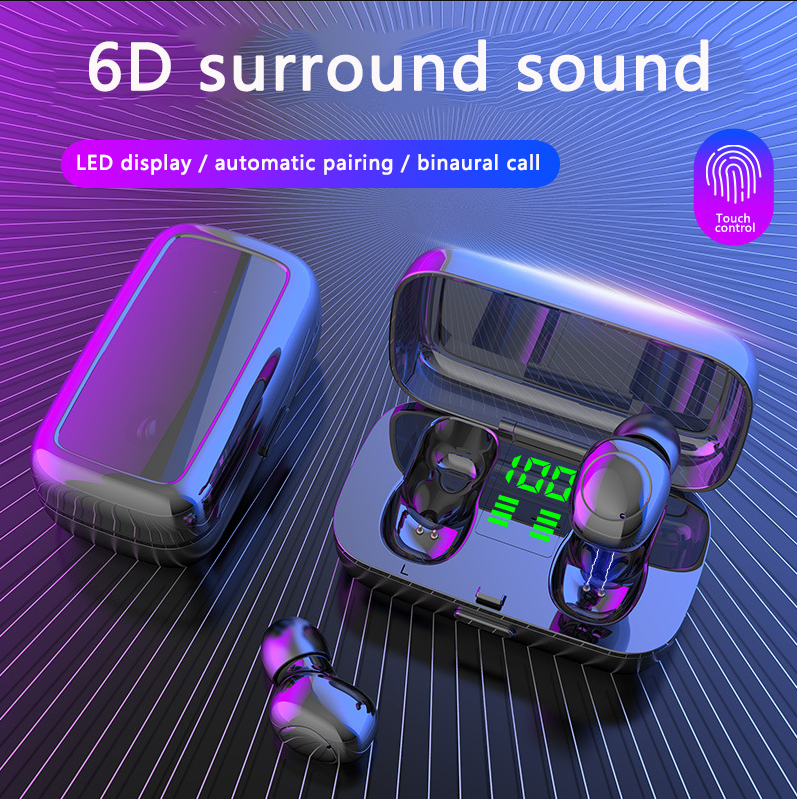 6D Stereo Bluetooth 5.0 Earphone Digital Display Screen Touch Binaural earphones with charging box