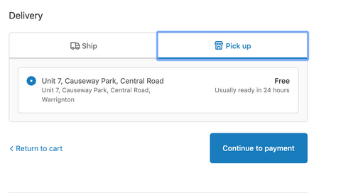 Just select pick up for Click & Collect