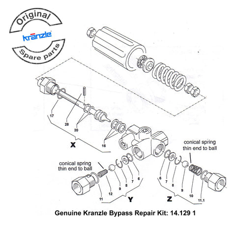 Genuine Kranzle Bypass Repair Kit 141291