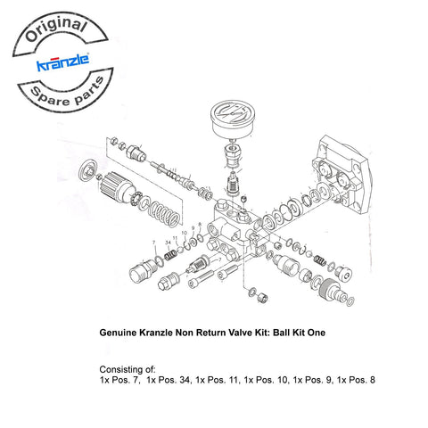 Genuine Kranzle Backstroke Non Return Valve Kit