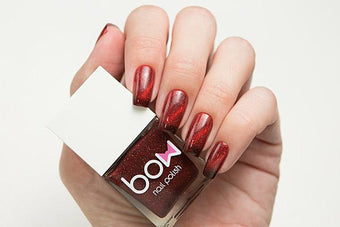 Lollipolish bow polish red brown thermal temperature reactive magnetic nail polish - Burn It Down