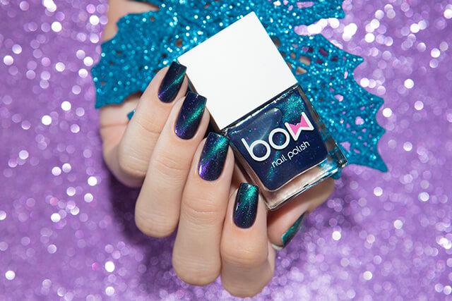 Lollipolish bow polish blue magnetic nail polish - Ludens