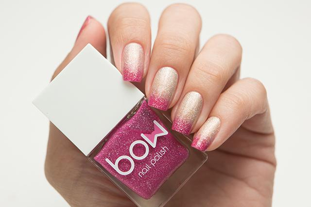 Lollipolish bow polish gold golden beige raspberry pink Temperature reactive thermal nail polish - Composure