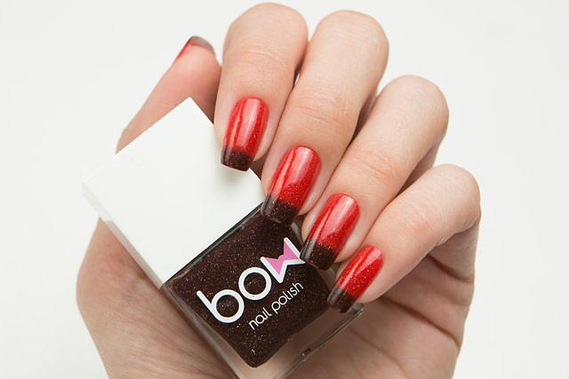 Lollipolish bow polish red brown Temperature reactive thermal nail polish - Hex