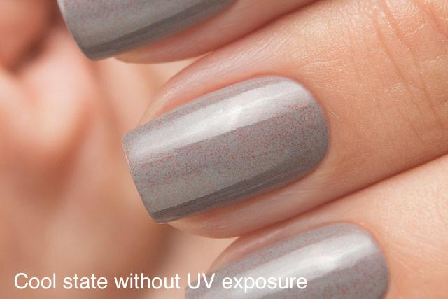 Lollipolish bow polish light beige grey pink purple Temperature reactive UV responsive nail polish - Colorblind