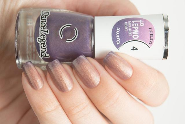 Lollipolish Dance Legend bow polish beige brown blue purple thermal nail polish- Heads or Tails
