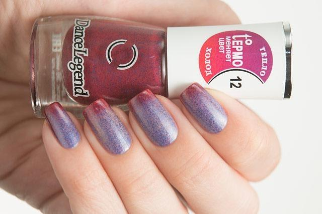 Lollipolish Dance Legend bow polish beige blue shimmer pink raspberry thermal nail polish- Hide and Seek