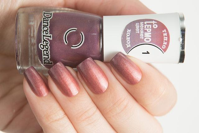 Lollipolish Dance Legend bow polish pinky peach purple thermal nail polish- In Plain Sight