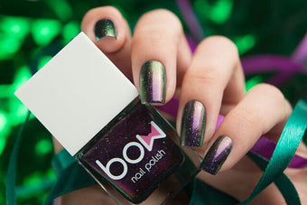 Lollipolish bow polish purple green shimmer nail polish - Good God