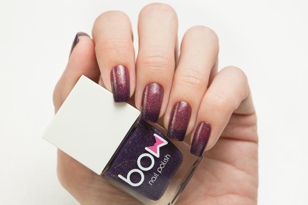 Lollipolish bow polish Pink Bordeaux  Dusty Purple thermal nail polish - Pretender