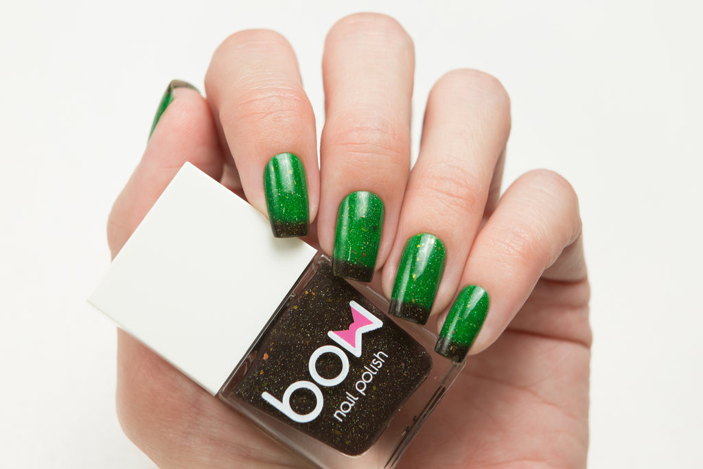 Lollipolish bow polish Bright Green Swampy Green thermal nail polish - Rewind