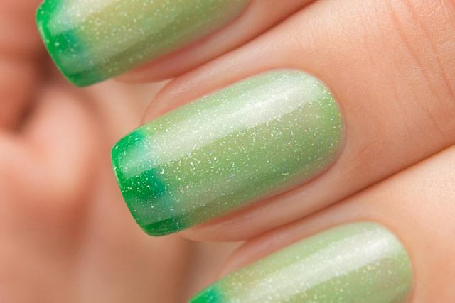 Lollipolish bow polish yellow green Temperature reactive thermal nail polish - Thermo Top Coat Green
