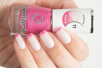 Lollipolish Dance Legend bow polish White Bright Pink thermal nail polish- White Lies