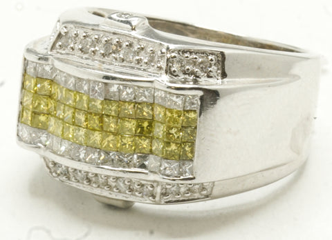 14k White Gold Invisible Set Yellow Diamonds Ring 12 G
