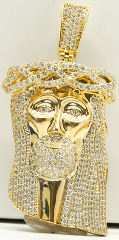 14k Gold Diamond Jesus Piece 39.2 G