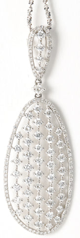 18k Almond Shaped Diamond Pendant 3.1 Ctw