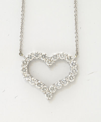 14k Brilliant Prong Heart Pendant 3 Ctw