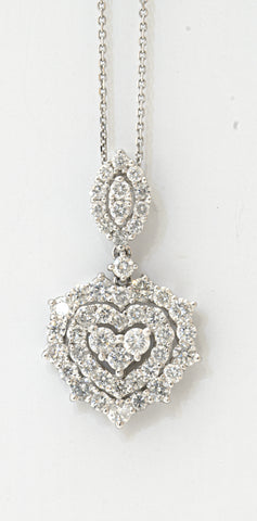18k Layered Heart Pendant 1.38 Ctw