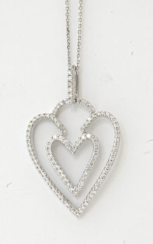 18k Heart with in Heart Pendant .56 Ctw