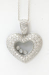 18k Heart with Floating Diamonds Pendant