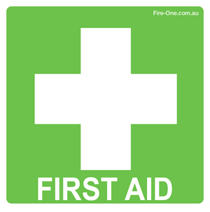 First Aid location sticker