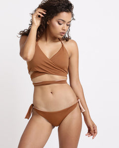 Wrap Top Reversible -Chocolate & Dusty Pink