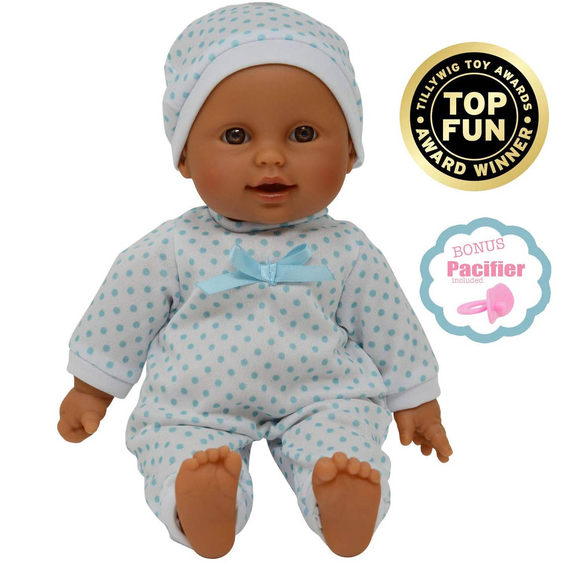 11 Inch Baby Doll Teal Polka Dot