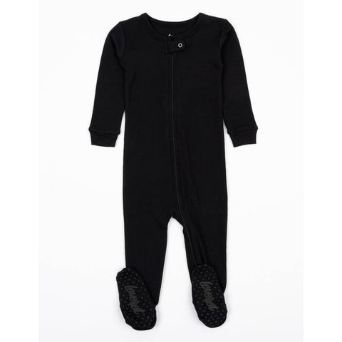 Solid Color Neutral Footed Pajamas- Black