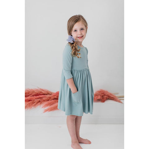 SAGE 3/4 SLEEVE POCKET TWIRL DRESS