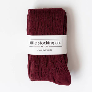 Wine Cable Knit Tights