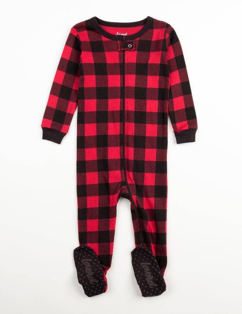 Red/Black Plaid Footed Pajamas